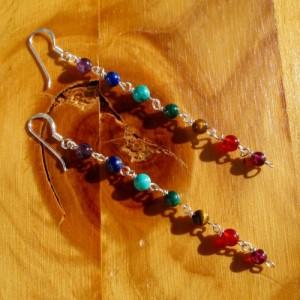 chakra earrings round bead long