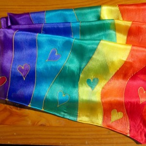 chakra silk scarf waves hearts
