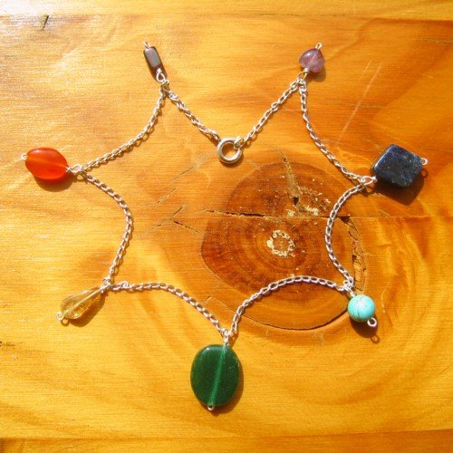 chakra ankle chain bracelet crystals silver
