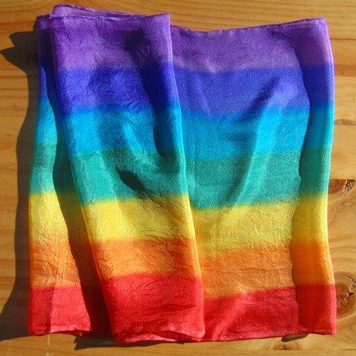 chakra silk scarf rainbow hand painted