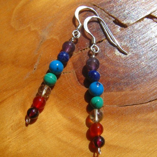 chakra earrings crystal silver hooks