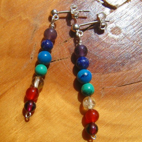 chakra earrings crystal silver studs