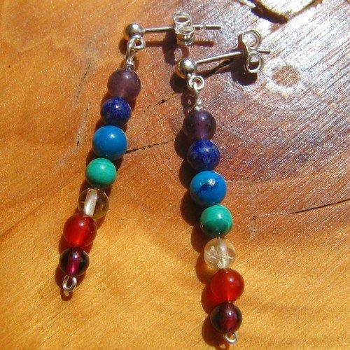 chakra earrings crystal silver studs