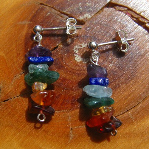 chakra earrings rainbow crystal studs