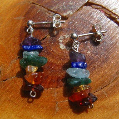 chakra earrings rainbow crystal studs
