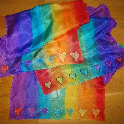 chakra silk scarf seven hearts