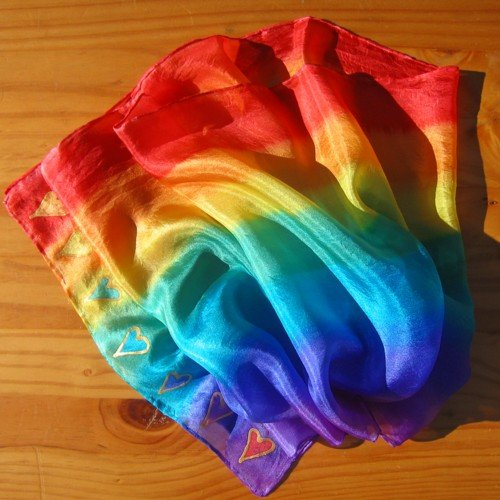 chakra silk scarf rainbow hearts