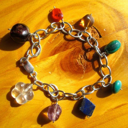 chakra bracelet silver crystal charms