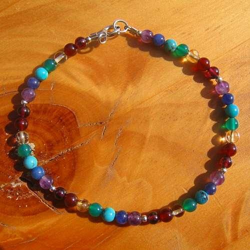 chakra bracelet round crystal silver