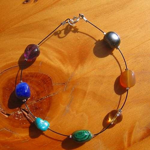 chakra bracelet chunky crystals silver