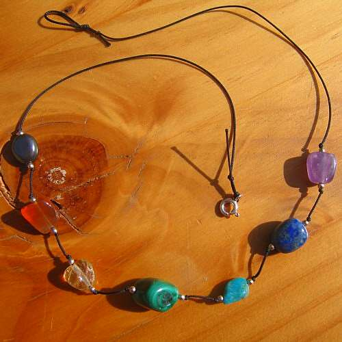 chakra necklace large crystals