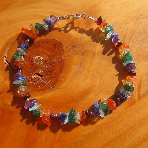 chakra bracelet rainbow crystals silver