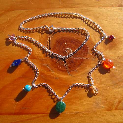 chakra necklace crystals sterling silver