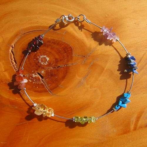 chakra bracelet seven crystal silver
