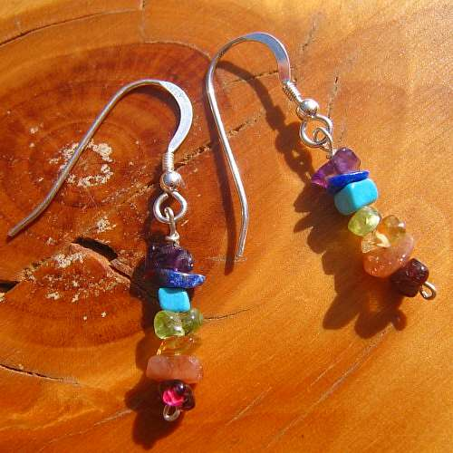 chakra earrings tumble crystals silver hooks
