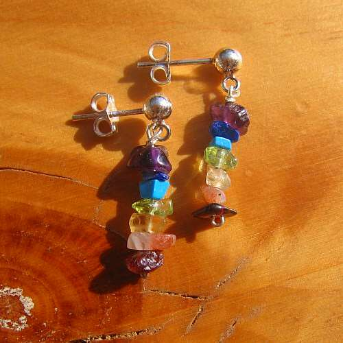 chakra earrings tumble stone crystal silver studs