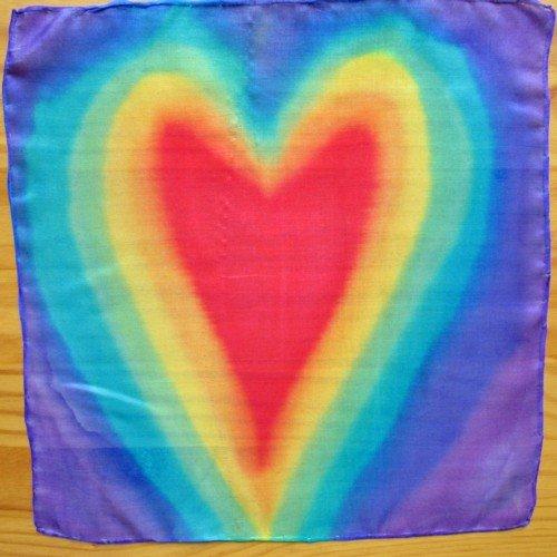 chakra silk scarf hearts small