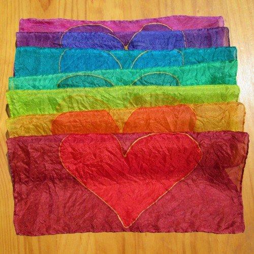 chakra silk rainbow hearts