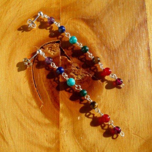 chakra earrings round bead long studs