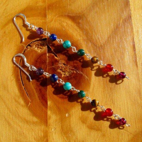 chakra earrings round bead long hooks