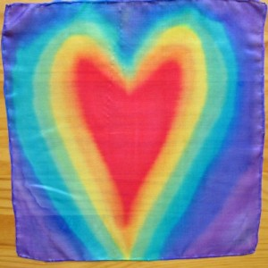 chakra silk scarf with hearts