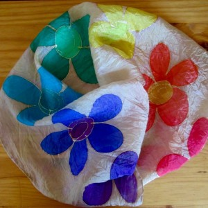 chakra silk scarf flowers hand painted