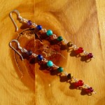 chakra earrings round bead long hooks